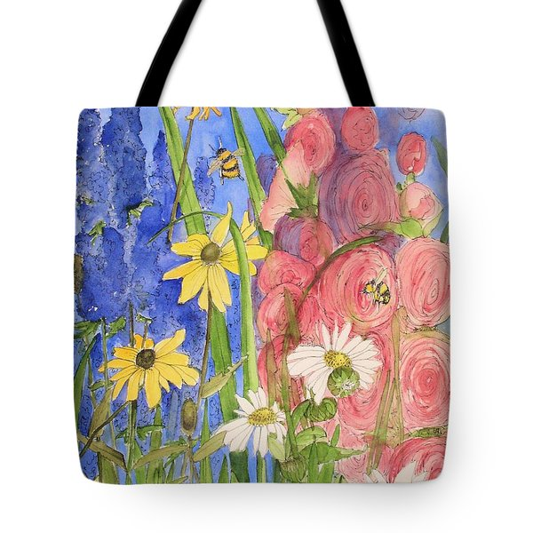 Cottage Garden Daisies And Blue Skies Tote Bag