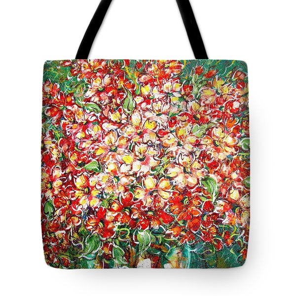 Tote Bag featuring the painting Cottage Garden Flowers by Natalie Holland