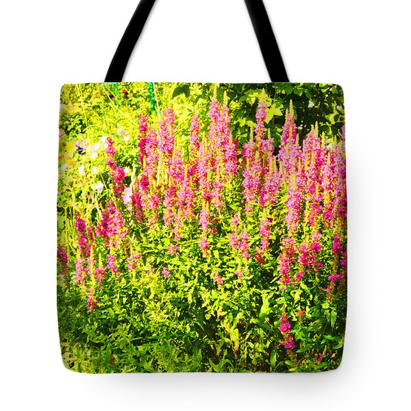 Tote Bag featuring the photograph Cottage Garden Of Lupines by MaryJane Armstrong