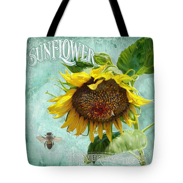Cottage Garden - Sunflower Standing Tall Tote Bag by Audrey Jeanne Roberts