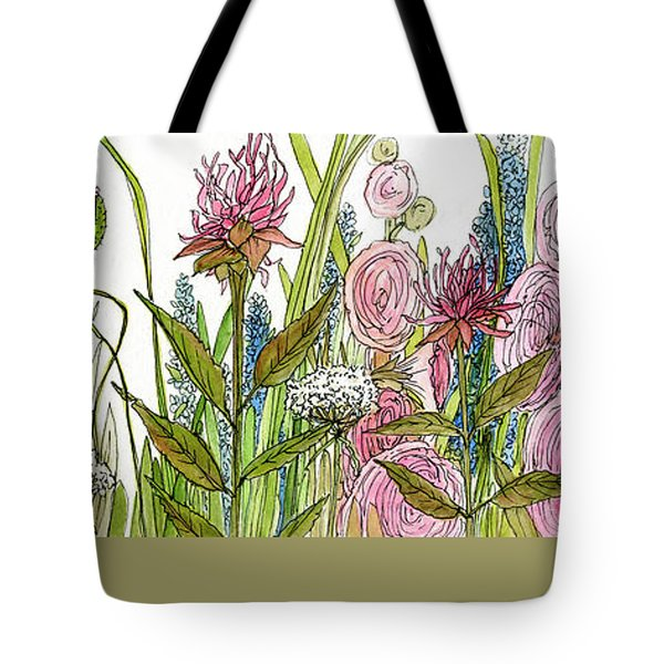 Tote Bag featuring the painting Cottage Hollyhock Garden by Laurie Rohner