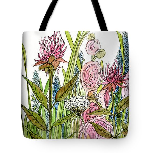 Cottage Hollyhock Garden Tote Bag