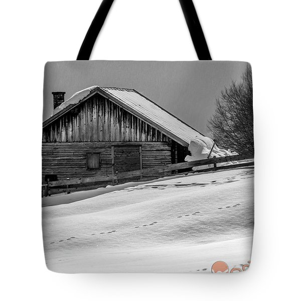Cottage In Winter Tote Bag