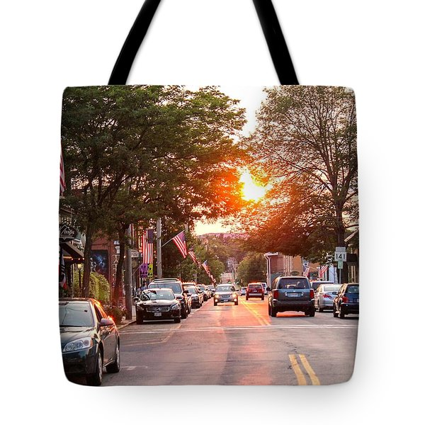 Cottage Street Summer Sunset Tote Bag