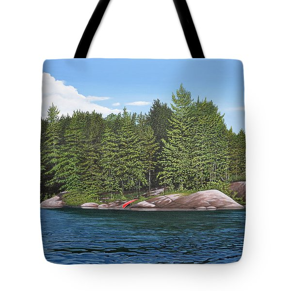 Tote Bag featuring the painting Cottage View Silver Lake by Kenneth M Kirsch
