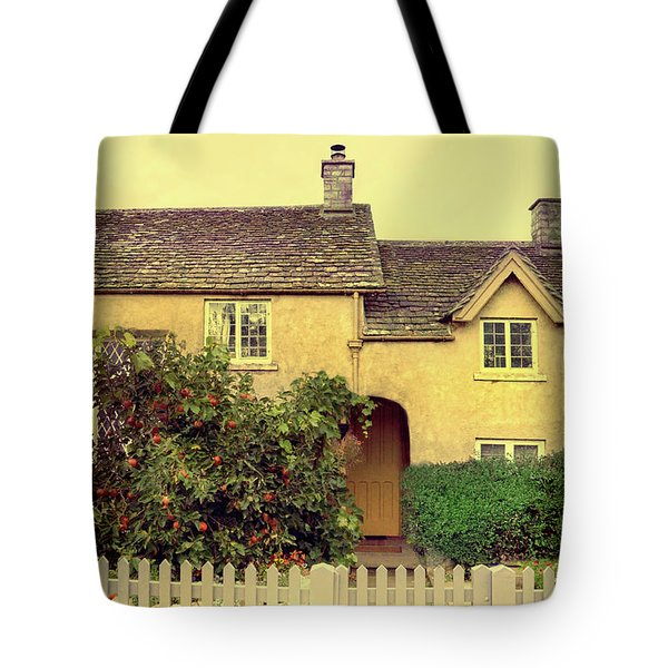 Cottage With A Picket Fence Tote Bag by Jill Battaglia