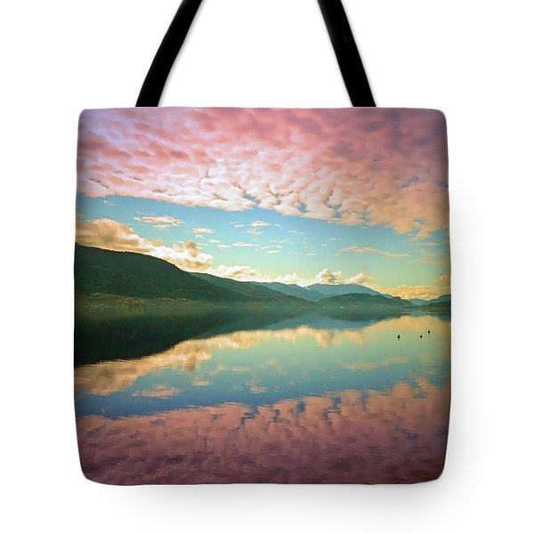Tote Bag featuring the photograph Cotton Candy Clouds At Skaha Lake by Tara Turner