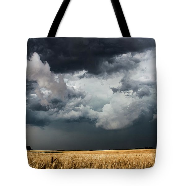 Cotton Candy - Storm Clouds Gather Over Golden Wheat In Kansas Tote Bag