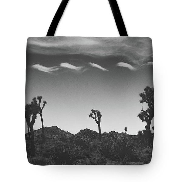 Tote Bag featuring the photograph Cotton Sky On Joshua Trees by Joseph Westrupp