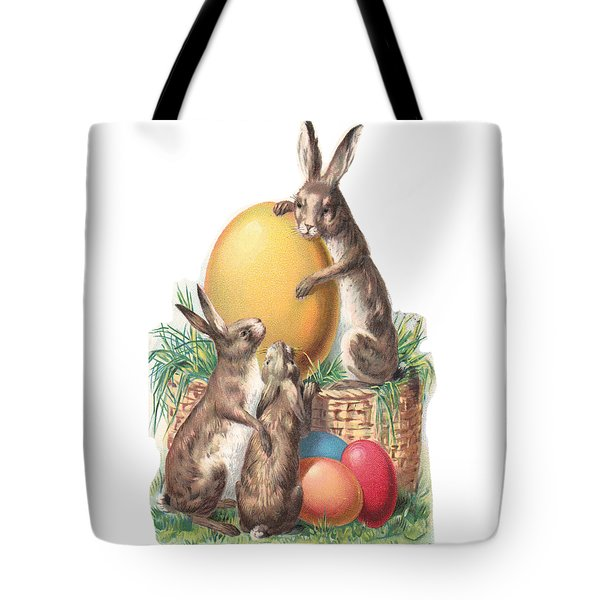 Tote Bag featuring the digital art Cottontails And Eggs by Reinvintaged