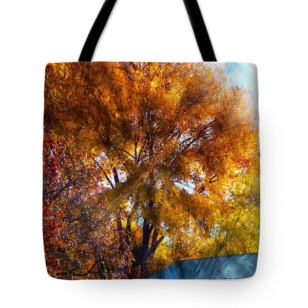 Tote Bag featuring the photograph Cottonwood Conversations With Cobalt Sky  by Anastasia Savage Ealy