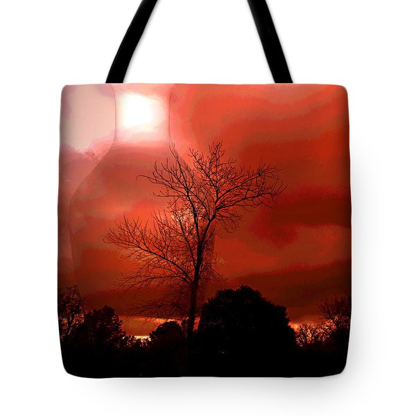 Tote Bag featuring the photograph Cottonwood Crimson Sunset by Joyce Dickens