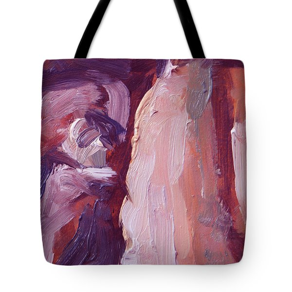 Tote Bag featuring the painting Couch Abstract In Red And Purple by Nop Briex