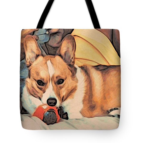 Tote Bag featuring the digital art Couch Corgi Chewing A Ball by Kathy Kelly