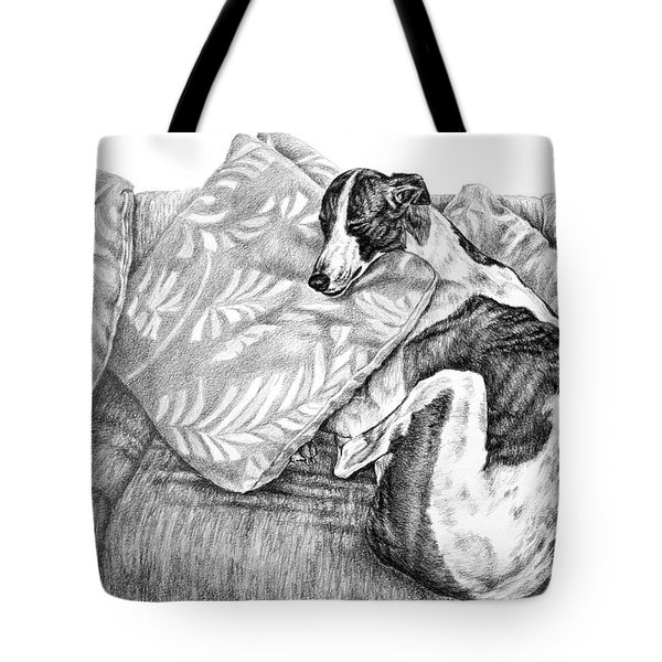 Couch Potato Greyhound Dog Print Tote Bag