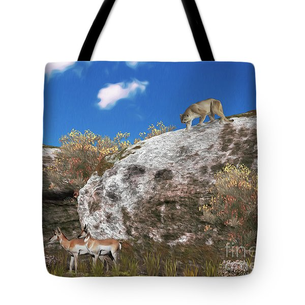 Cougar From Above Tote Bag by Walter Colvin