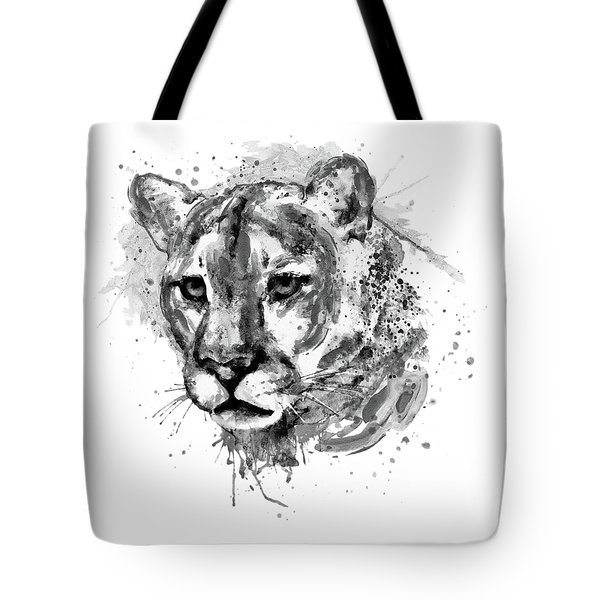 Tote Bag featuring the mixed media Cougar Head Black And White by Marian Voicu