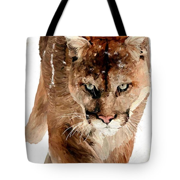 Cougar In The Snow Tote Bag