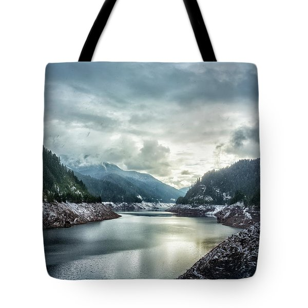 Cougar Reservoir On A Snowy Day Tote Bag