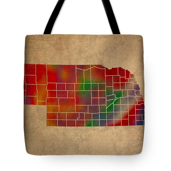 Counties Of Nebraska Colorful Vibrant Watercolor State Map On Old Canvas Tote Bag