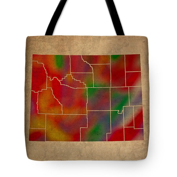 Counties Of Wyoming Colorful Vibrant Watercolor State Map On Old Canvas Tote Bag