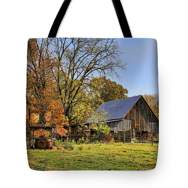 Country Barn And A Pink Flamingo By H H Photography Of Florida Tote Bag