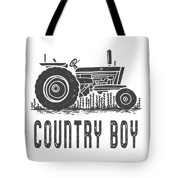 Tote Bag featuring the digital art Country Boy Tractor Tee by Edward Fielding