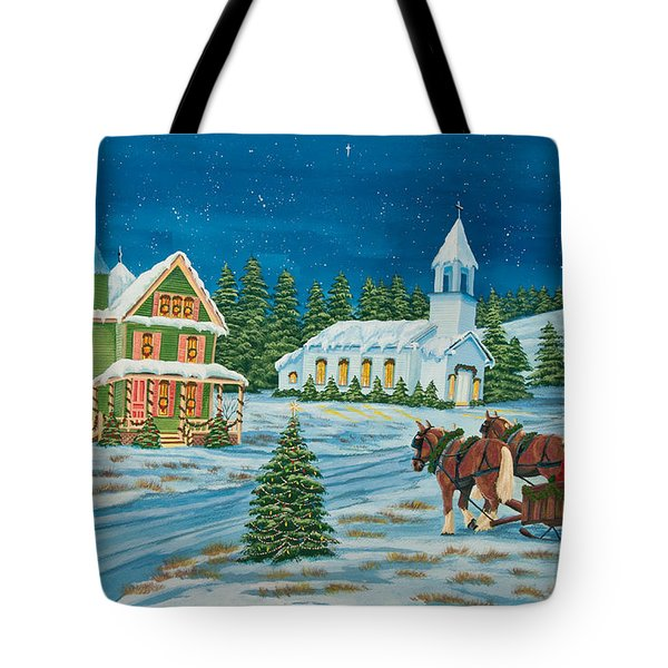 Country Christmas Tote Bag by Charlotte Blanchard