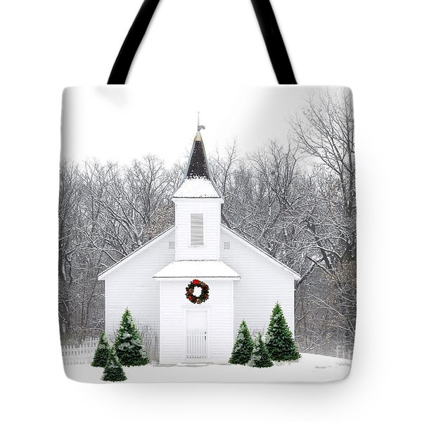 Country Christmas Church Tote Bag