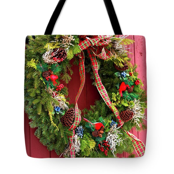 Country Christmas Wreath Tote Bag