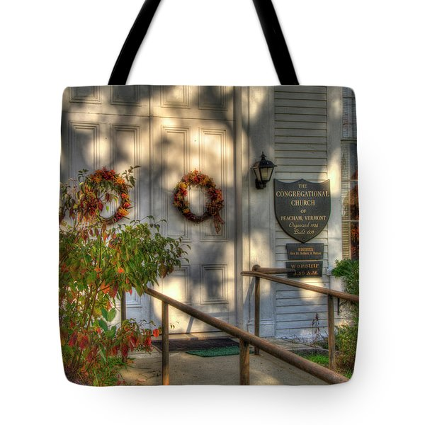 Tote Bag featuring the photograph Country Church In Autumn - Vermont Fall by Joann Vitali