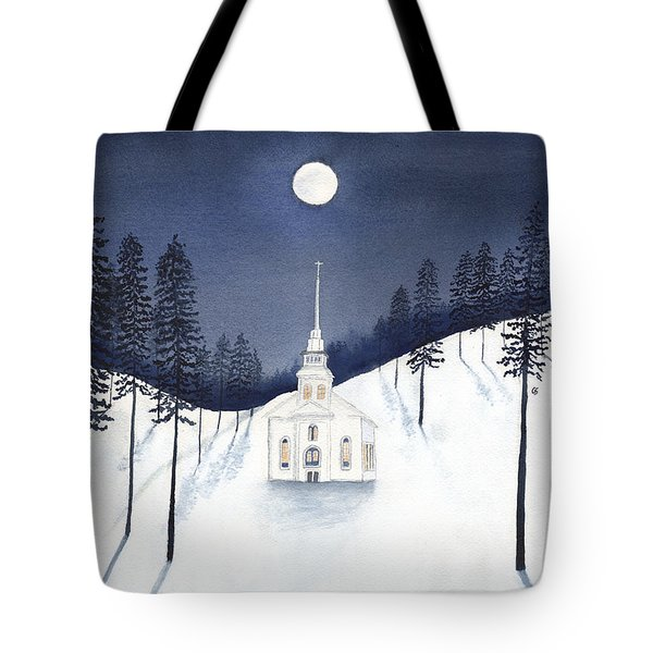 Country Church In Moonlight 2, Silent Night Tote Bag