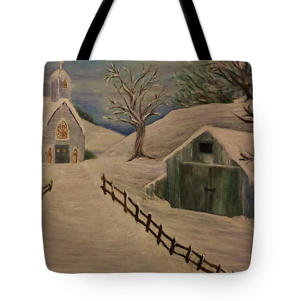 Country Church In The Snow Tote Bag by Christy Saunders Church
