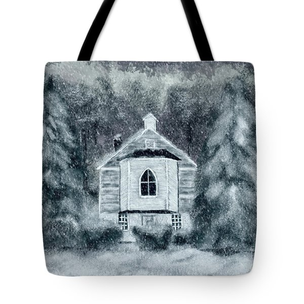 Tote Bag featuring the digital art Country Church On A Snowy Night by Lois Bryan