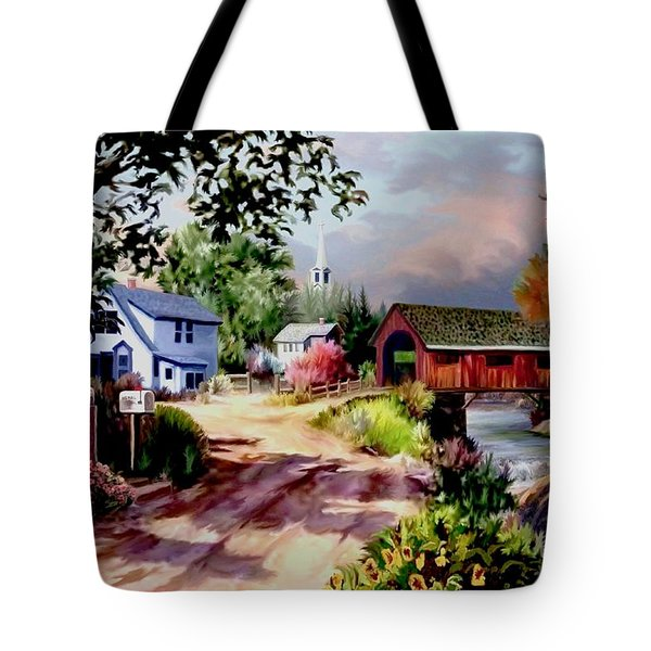 Country Covered Bridge Tote Bag