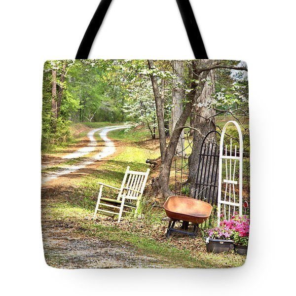 Country Driveway In Springtime Tote Bag