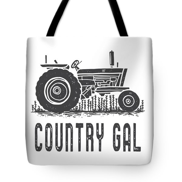 Tote Bag featuring the digital art Country Gal Tractor Tee by Edward Fielding