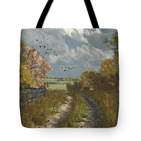 Country Lane In Fall Tote Bag