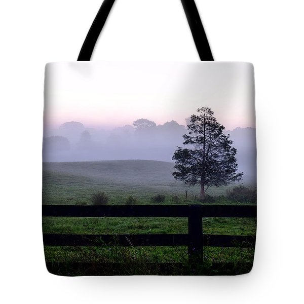 Country Morning Fog Tote Bag