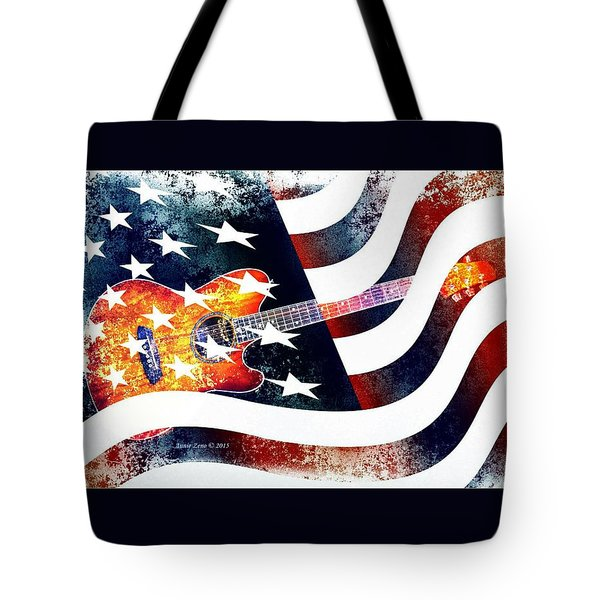 Country Music Guitar And American Flag Tote Bag