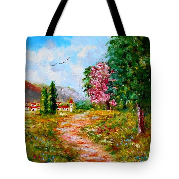 Country Pathway In Greece Tote Bag