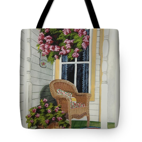Country Porch Tote Bag by Charlotte Blanchard