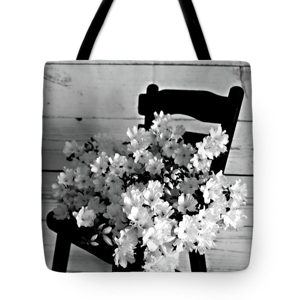 Country Porch In B And W Tote Bag by Sherry Hallemeier