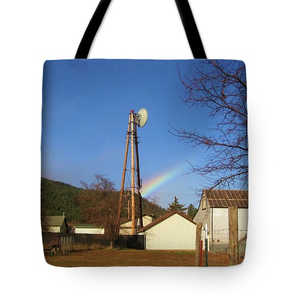 Tote Bag featuring the photograph Country Rainbow by Mary Ellen Frazee