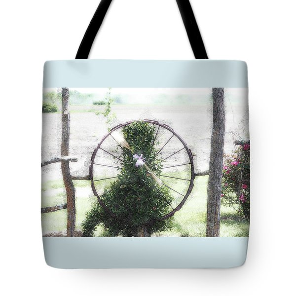 Tote Bag featuring the photograph Country Ranch Wagon Wheel by Ellen O'Reilly