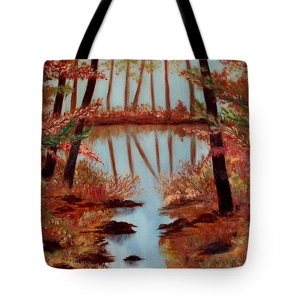 Tote Bag featuring the painting Country Reflections by Leslie Allen