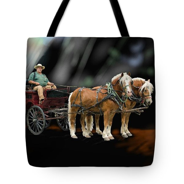 Country Road Horse And Wagon Tote Bag