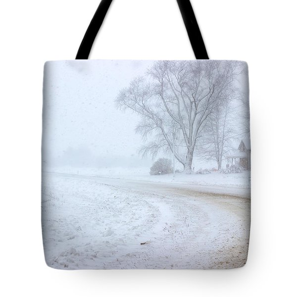 Country Road In A Snowstorm Tote Bag