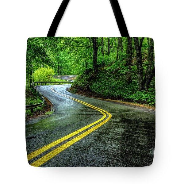 Country Road In Spring Rain Tote Bag