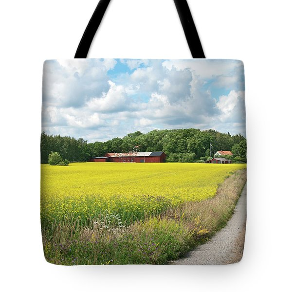 Country Road In Yellow Meadow Tote Bag